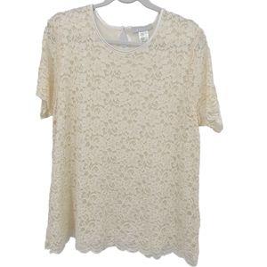 Lane Bryant La Boutique Lace Short Sleeve Blouse